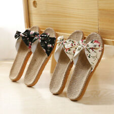 Women Summer Beach Slippers Breathable Linen Flip Flops Casual Floral Bow Shoes