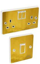 Gold Chrome Light Switch & Double Socket Sticker Vinyl / Skin cover sosw46