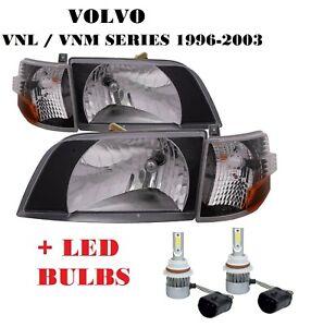 1998-2011 VOLVO VNL VMN 200 300 Series Daycab BLACK Headlight with Corner - SET
