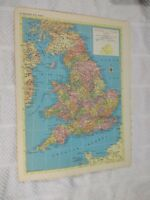 1954 Map of England and Wales - Map of Europe On Reverse