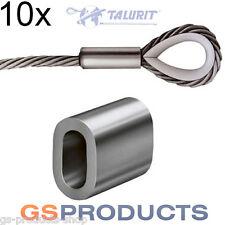 10x 12mm Aluminium Ferrules Steel Wire Rope Crimping Sleeve Clamp TALURIT