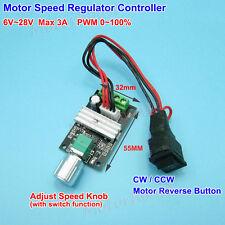 DC 6V~24V 9V 12V 3A PWM DC Motor Speed Control Governor CW CCW Reversible Switch