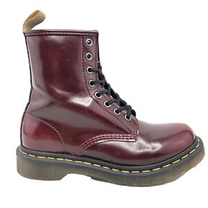 Doc Dr Martens 1460 Cherry Red Vegan Combat Boots 8 Eyelet Womens Size 724226
