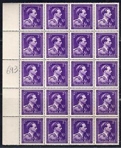 1944 BELGIUM 2fr violet OBP 693 block of 20 with plate error, cat.val=53.00€ MNH