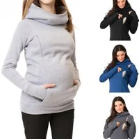 Women Nursing Baby Maternity Sweatshirt Long Sleeves Hooded Solid Blouse Clothes