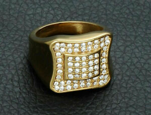 Cocktail Engagement Pave Set Men's Ring 14K Yellow Gold Plated 2.01 Ct Diamond
