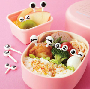 Hot 10x Cute Eye Mini Food Fruit Picks Baby Kid Forks Bento Lunch Box Tools US