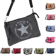 Stern Umhänge Tasche Cross Body Bag Shopper Clutch Vintage Canvas Jeans Stoff *