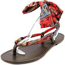 Sandalias con tiras de mujer plano en rojo