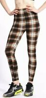 Tartan Plaid Scottish Brown Cream Checked Buttery soft high rise trendy Leggings