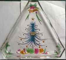 MIKASA  DECORATED TREE SHAPED MULTICOLOR SERVING GLASS CANDY SERVING DISH NEW
