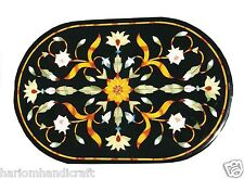 3'x2' Black Marble Dining Center Table Top Marquetry Floral Inlay Decor H1138