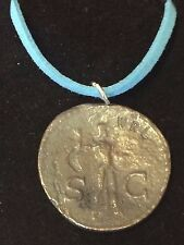 "Roman Coin Claudius WC1 Made From English Pewter On a 18"" Blue Cord Necklace"
