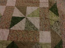 Handmade Quilt Shades of Green Machine Quilted, Full/Queen Pinwheel