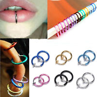 4 PCS Fake Stud Earrings Punk Clip On Piercing Body Nose Lip Ring Hoop Ear ST