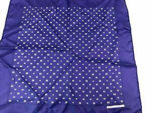 Hermes French 100% Silk Navy Blue Pocket Square
