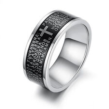 Mens Unisex Stainless Steel Ring Cross Religious Padre Silver Size 10 L35