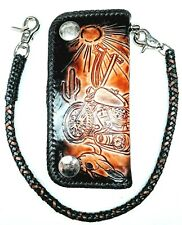 Leather biker trucker motorcycle Chain Wallet hand Tooled route 66 Desert