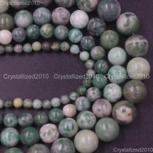 Natural Green Qinghai Jade Gemstone Round Loose Beads 4mm 6mm 8mm 10mm 15.5''