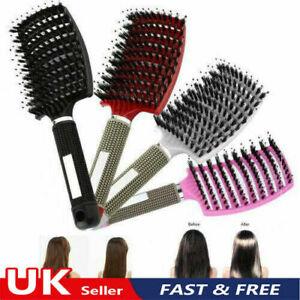 Natural Boar Bristle Detangling Nylon Brush Large Curly Hair Style Tool Brush/