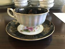 Vintage Royal Halsey Black with Pink Rose and gold leaves 3 Footed Tea Cup & Sau