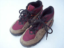 Backstreets Hiking Boots Shoes Sz 12.5 12 1/2 Youth Boys Brown Suede Red Laces  0000270D