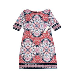 Eliza J Pink Jersey Knit Dress NEW Sz 8 Paisley Geometric Abstract Half Sleeve
