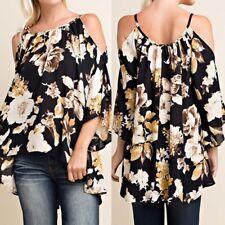 2017 Women Summer Floral Blouse Cold Shoulder Top Plus Size Loose Boho Shirt Tee