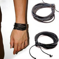 LEATHER WRIST BAND BRACELET MULTI WRAP HEMP SURFER BRAID CUFF BLACK COFFEE Men