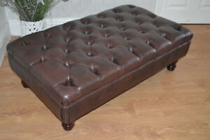 Stylish Chesterfield  Deep Button  Footstool in Dark Brown Faux Leather