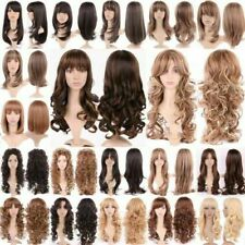 Halloween Women Natural Hair Long Straight Curly Cosplay Synthetic Full Wig
