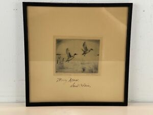 """Vintage """"Pintails Rising"""" Flying Geese Framed Etching"""