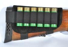 Shotgun Shell Cartridge Buttstock Holder Cheek Rest 20 and 12 GA 6 Loops Leather