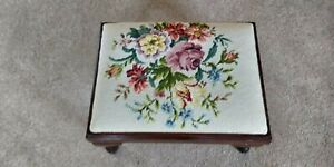 Foot Stool with Floral Needlepoint Top