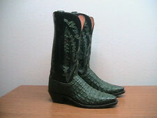 Womens 7 B Lucchese Hunter Green Exotic Caiman Crocodile Western Cowboy Boots