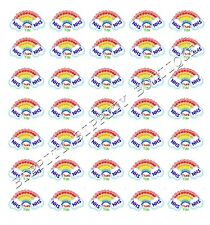 "N.H.S ""STAY SAFE/THANK YOU"" RAINBOW CANVAS PRINTED FABRIC SHEET..HAIR BOWS,"