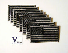 US USA American Flag patch SUBDUED BLACK and GRAY  **LOT of 8**