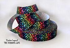 """Rainbow Leopard printed grosgrain ribbon 25mm 1"""" wide 2 METRES"""