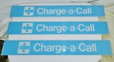 Charge -a- Call  Blue with White Glass Payphone Telephone Booth Signs