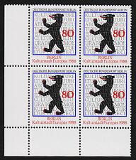 1988 germany Berlin Sc#9N568 Mi#800 Corner Margin Block Mint Never Hinged