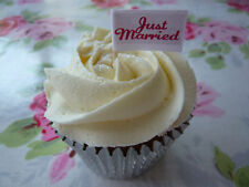 20 CUPCAKE FLAGS/TOPPERS - JUST MARRIED
