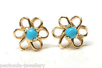 9ct Gold Turquoise Daisy Studs earrings Gift Boxed Made in UK Christmas Gift