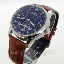43mm Parnis Black Dial Power Reserve Date Leather Automatic Men's Wristwatch 234