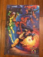 "Marvel Comics X-Men and Spider-Man ""FOX KIDS"" Network Magazine Poster Insert VTG"