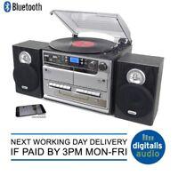 Steepletone Silver SMC386 Hifi Record CD Radio MP3 Bluetooth 2 Tape Music Centre