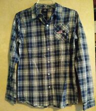 Nwt New England Patriots Youth Stitched Plaid Snap Down Shirt Size L NFL $60 New