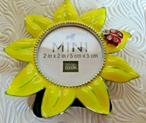 """Sunflower Frame, 2""""x2"""" Round Picture Frame With Red Jeweled Ladybug Cute"""