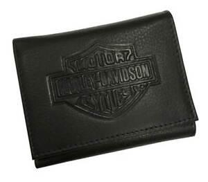 Harley-Davidson Men's Embossed B&S Pocket Tri-Fold  Leather Wallet XML3542-BLACK