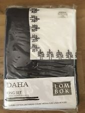 Lombok Daha King Duvet Cover White Cotton Embroidered w/Linen Border 230x220cm x