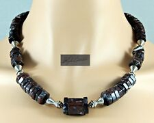 NEW! UNISEX Fancy Red Iron Laced Jasper Ethnic Collar Necklace & Earring Set 21""